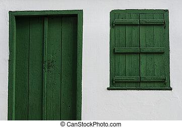 wooden door and window old house