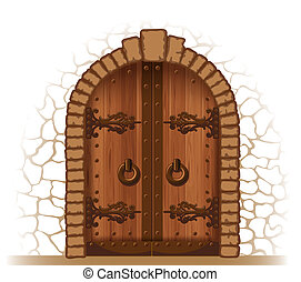 Wooden door - Arched medieval wooden door in a stone wall