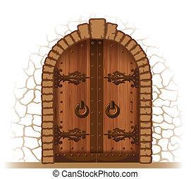 Wooden door - Arched medieval wooden door in a stone wall