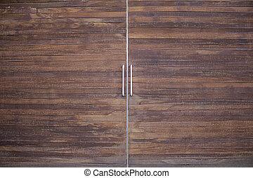 Wooden door closed