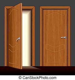 Detailed Illustration of opened and closed classic wooden front doors