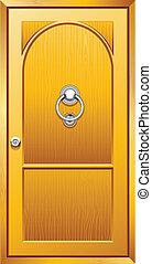 Wooden Door - illustration of metal door knob on wooden door