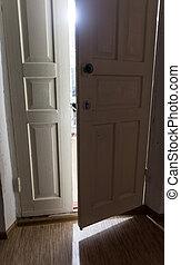 wooden door in the dark