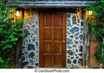 Wooden door in the evening