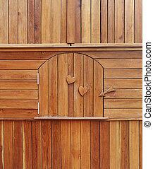 wooden door in wooden cabinet