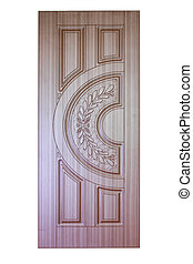 wooden door isolaten on white