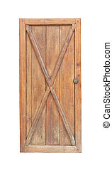 Wooden door isotlated on white background