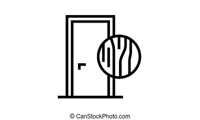 wooden door animated black icon. wooden door sign. isolated on white background