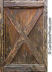 Wooden door lock, vintage wooden door, Brown door, texture, background.