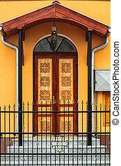 Wooden door of a building