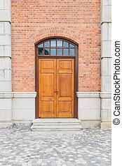 Wooden door of a tower