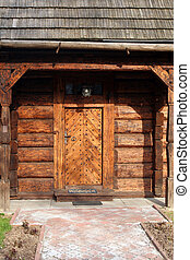 wooden door of old traditional house