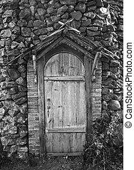 wooden door of the ancient building