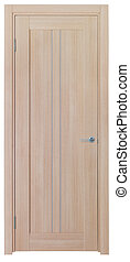 wooden door on a white background