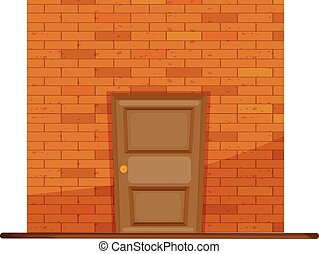 Wooden door on brick wall