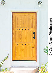 wooden door on wall