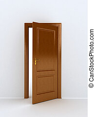 wooden door over white background