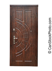 wooden door - wooden  door on a white background
