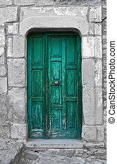 Wooden door.