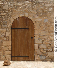 Wooden Door - Wooden door in stone surround