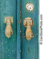 wooden door vintage metal frame green