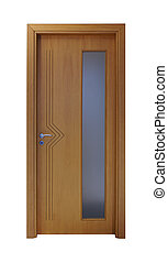 Wooden door with a vertical window