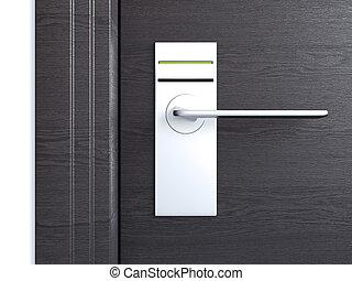 Wooden door with card lock. 3d rendering