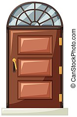 Wooden door with curve window on top