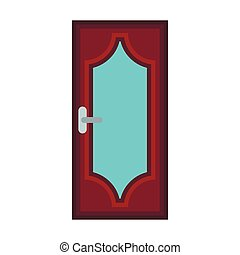 Wooden door with glass icon, flat style