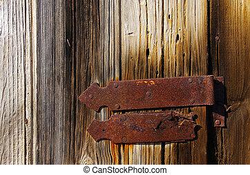 Wooden door with hinge
