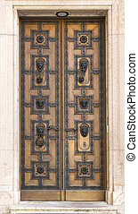 wooden door with leon, St. Stephen's Basilica - Wooden door...