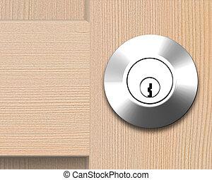 wooden door with lock, 3D illustration