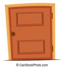 Wooden door with round knob illustration