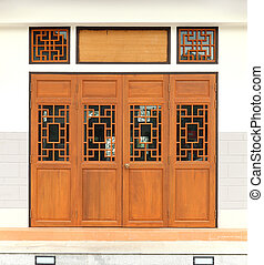 wooden door with traditional pattern