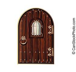 wooden door with window