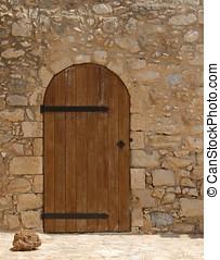 Wooden Door - Wooden door in stone surround
