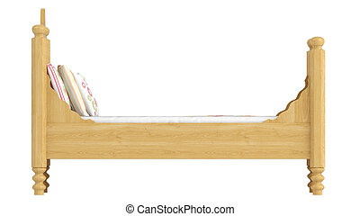 Wooden double bed in light oak with pretty floral patterned bedlinen isolated on white