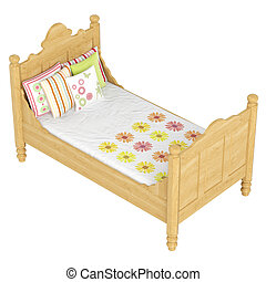 Wooden double bed in light oak with pretty floral patterned...