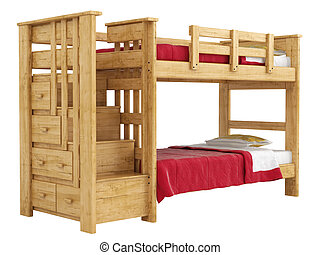 Wooden double bunk bed with a lattice framework and stairs...