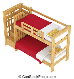 Wooden double bunk bed