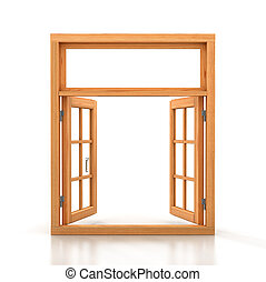 Wooden double window opened isolated on white background