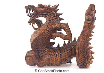 Wooden dragon, symbol of chinese new year, isolated on white...