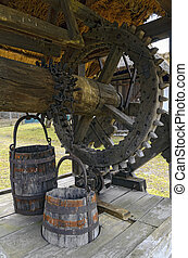 wooden mechanism of an old draw well