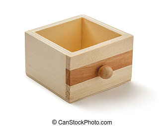 Wooden drawer on white background