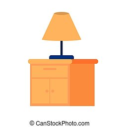 wooden drawer with lamp in white background