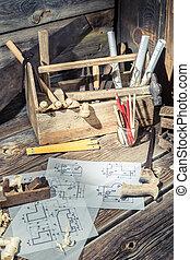 Wooden drawing desk in carpenter workshop