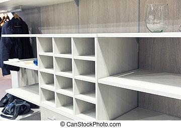 Empty white wooden dressing room