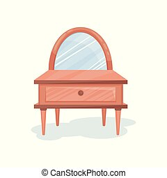 Wooden dressing table with mirror, interior design element vector Illustration on a white background