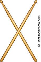 wooden drumsticks - Crossed pair of wooden drumsticks on...