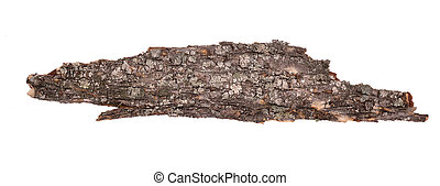 Wooden dry sliver bark firewood isolated
